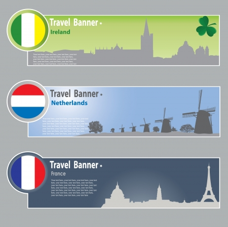 abstract mill: Travel banners: Ireland, Netherlands and France