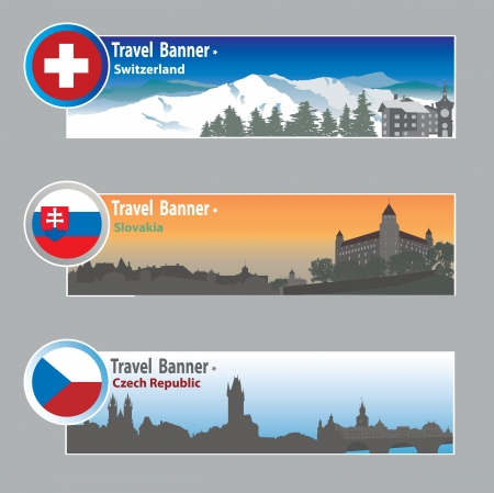Reizen banners: Zwitserland, Slowakije en Chech