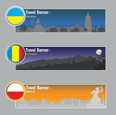 rumania: Travel banners: Ukraine, Rumania and Poland