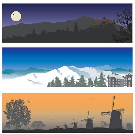 horizon over land: Landscape Illustration
