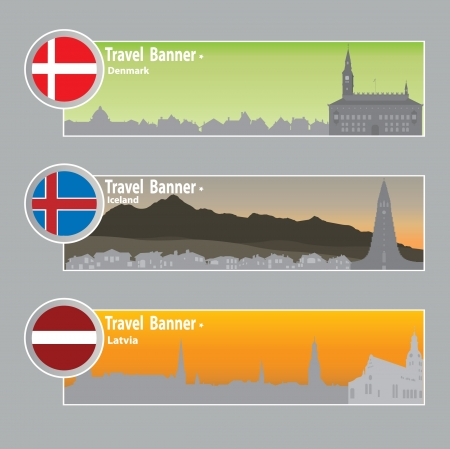 Travel banners  Danmark, Iceland, Latvia Stock Vector - 15586142