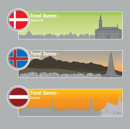 latvia: Travel banners  Danmark, Iceland, Latvia Illustration