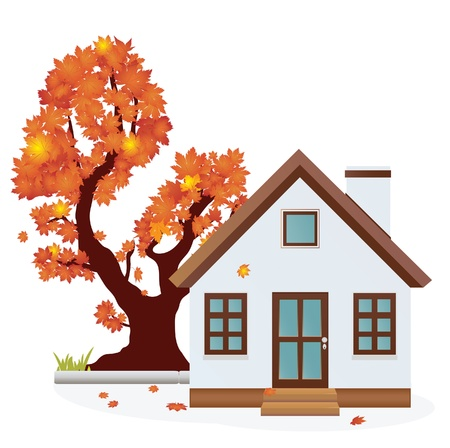 House  Autumn season Vector
