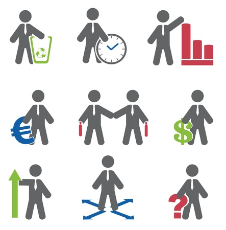 administrador de empresas: Business icon set Vector Vectores