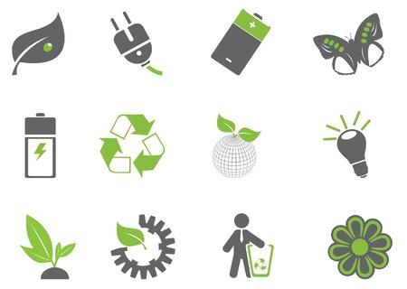 environnement entreprise: Vector set d'ic�nes �cologie Illustration