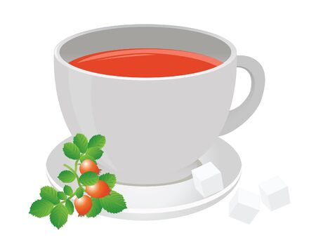 Tea cup and berry. Vector for you design Stock Vector - 16446930