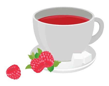 Tea cup and raspberry. Vector for you design Stock Vector - 16446941