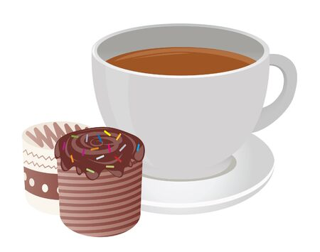 Tea cup and cakes. Vector for you design Stock Vector - 16446940