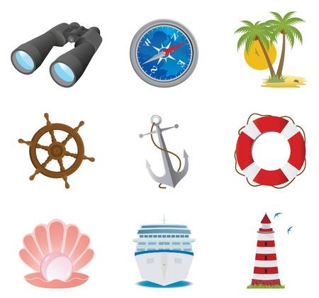 tightrope: Sea icons. Vector set