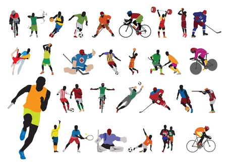 man in field: Silhouettes athlete. Vector set