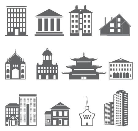 небоскребы: Здания. Векторный набор Иллюстрация