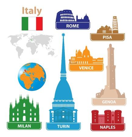 genoa:  Italy. Silhouettes city.