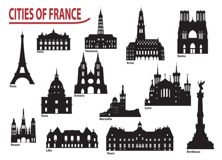 paris skyline: The most famous building in the city of France Illustration