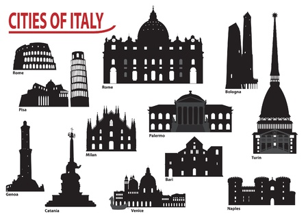 bologna: The most famous building in the city of Italy Illustration