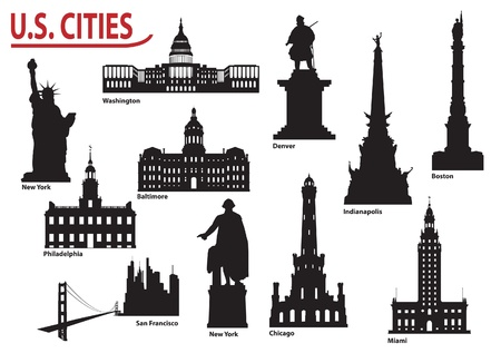 Most Famous Buildings U.S. cities Vector