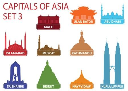 Capitals of Asia. Set 3 Stock Vector - 17256533