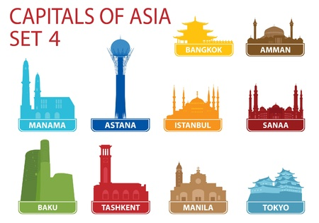 Capitals of Asia. Set 4 Stock Vector - 17256536