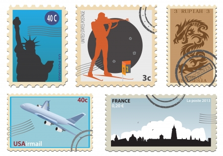postage stamps: Postage stamps. Vector set