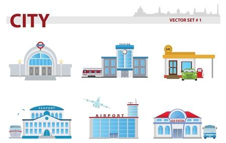 estacion de tren: Dibujos animados edificio público. Set 1. Vectores