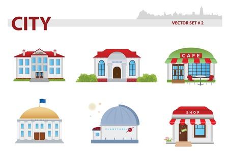 Public building cartoon. Set 2.  Çizim
