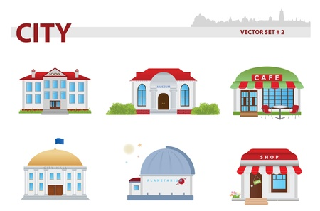 Public building cartoon. Set 2.  Stock Vector - 17620149