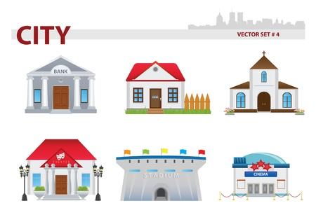 Public building cartoon. Set 4.   イラスト・ベクター素材