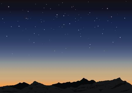 Night starry sky and mountains. illustration Stock Vector - 17740590