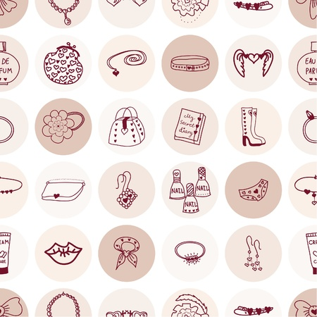 hairpin: Seamless pattern pink girl accessories