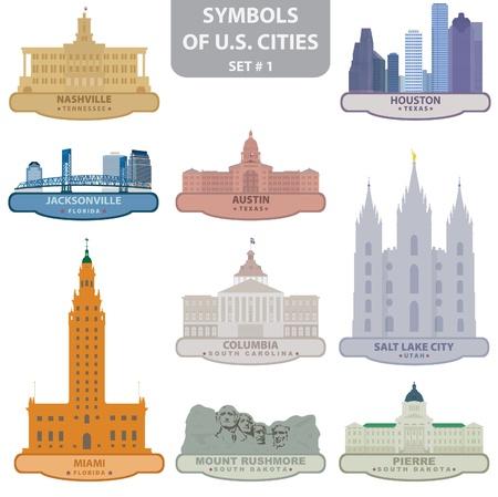 Symbols of US cities. Set 1