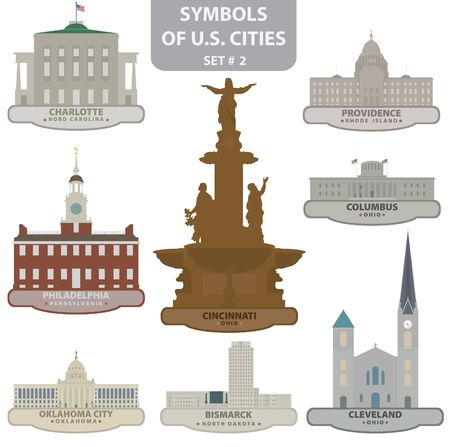 Symbols of US cities. Set 2 Vector