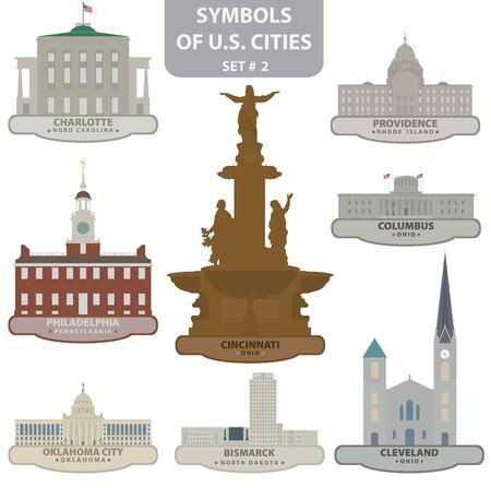米国の都市のシンボルです。セット 2
