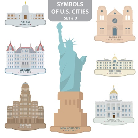 Symbols of US cities. Set 3.  Vector