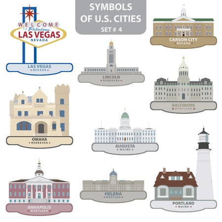 Symbols of US cities. Set 4. Vector