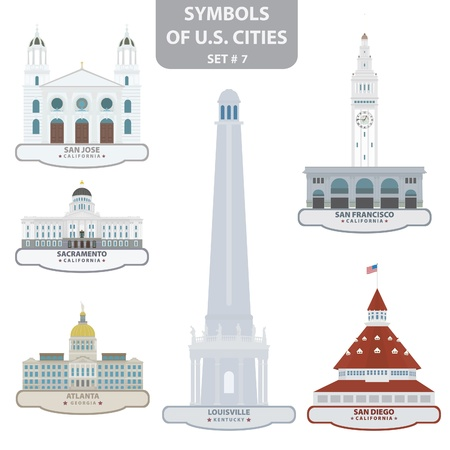 Symbols of US cities. Set 7.  Vector