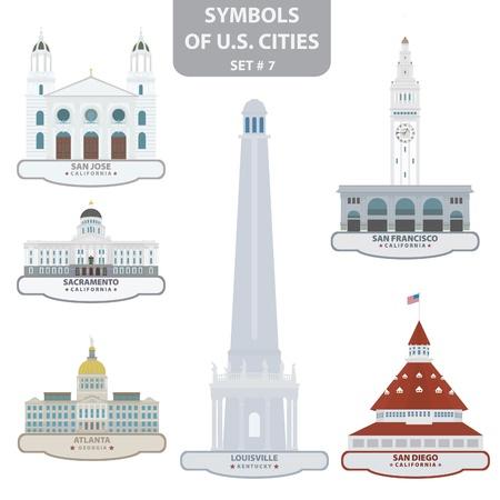 san diego: Symbols of US cities. Set 7.
