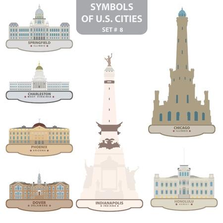 Symbols of US cities. Set 8. Vector