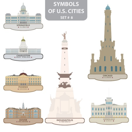 indiana: Symbols of US cities. Set 8.