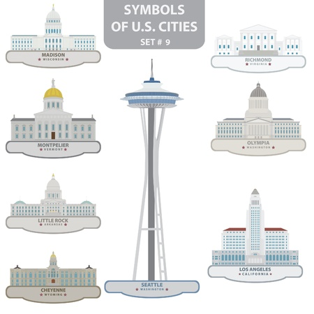 Symbols of US cities. Set 9. Vector