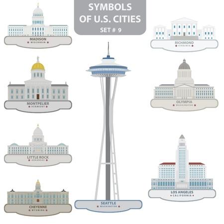 Symbols of US cities. Set 9. Stock Vector - 18676666