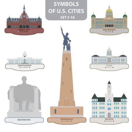 Symbols of US cities. Set 10.  Vector