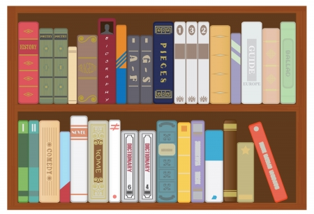 books on shelf: Shelf with books. Vector for you design