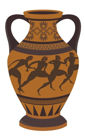 decorative urn: Ancient Greek vase. Illustration
