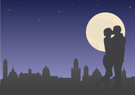 kiss couple: Kiss. Lovers on the background of night city Illustration