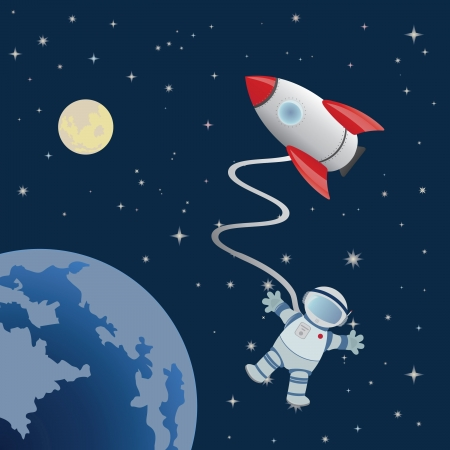 to gravity: Astronaut in space. Vector for you design Illustration