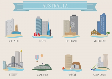 melbourne: City symbol. Australia. Vector set