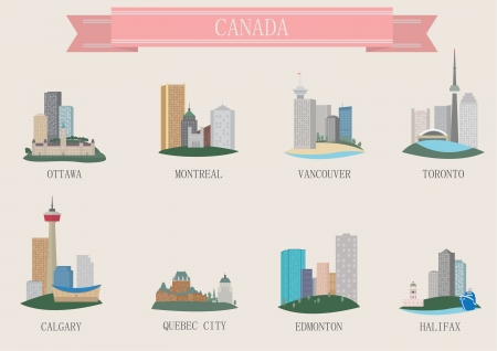 calgary: City symbol. Canada. Vector set