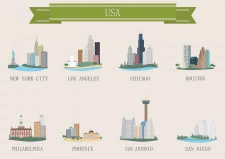 City symbol. USA. Vector set Ilustração