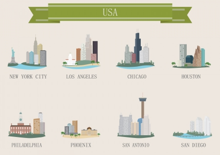 City symbol. USA. Vector set Illustration