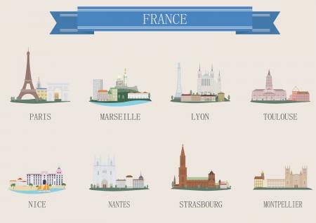 toulouse: City symbol. France. Vector set