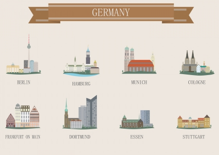 stuttgart: City symbol. Germany. Vector set